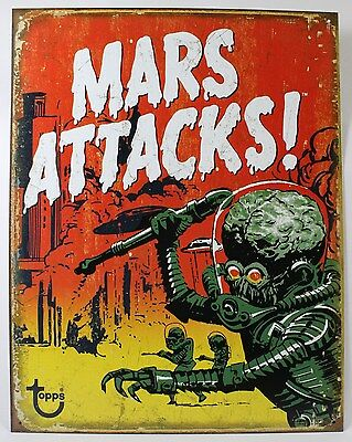 TOPPS MARS ATTACKS METAL SIGN 1962 Sci-Fi Trading Cards NEW Vintage Repro USA