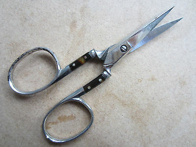 scissors, fine steel/chromed antique sewing, faux shell inserts 9cm