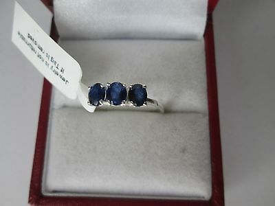Genuine Blue Sapphire Sterling Silver Trilogy 3 Stone Ring Size P/q