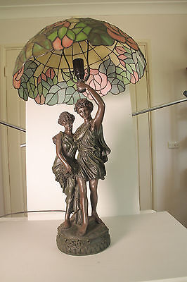 A Stunning Lamp, Pewter Figures Holding a Tiffany Like Shade