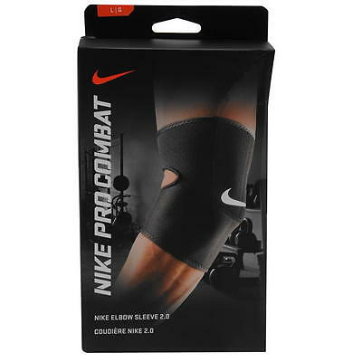 Nike Pro Combat Breathable Compression Sleeve Elbow Support Black S Rrp £15