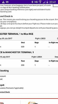 Flight ticket - Manchester to Nice (Return) 1 person. 5th - 10th July 2017.