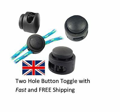 Spring Loaded Plastic Twin Hole Button Toggle Stopper Cord Locks End 1,5,10 UK