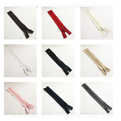 "10 x Size 3 Nylon Closed End Zips High Quality 4"" - 18"" Size High Quality Zipper"