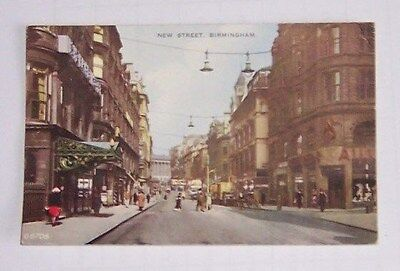 Vintage Colour  Post Card New Street Birmingham  As Pictures