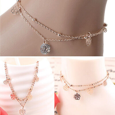 UK Lady Women Gold Rose Ankle Bracelet Chain Adjustable Anklet Foot Charm Chain