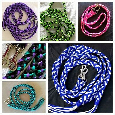 Custom Coloured Horse Reins Pony Rope Split Joined