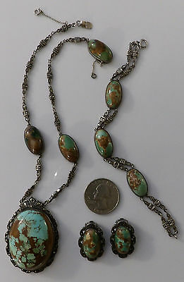 Vintage Germany Turquoise Sterling Marcasite Set Necklace Bracelet Clip-on