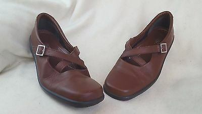 Hotter Comfort Concept Brown Leather Flats Walking Shoes Wedge Size 7.5 Uk