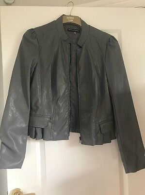 Grey leather look Ladies Jacket Size 12