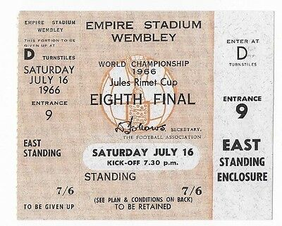 RARE UNUSED 1966 World Cup ticket: England v Mexico: July 16: Wembley