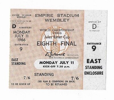 RARE UNUSED 1966 World Cup ticket: England v Uruguay: Opening match: Wembley