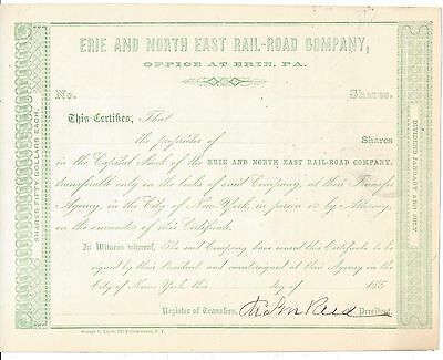 Erie And North East Rail-Road Company (Erie Pa)...unissued 1850's Certificate