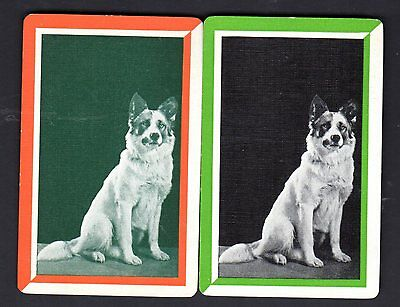 Vintage Swap/Playing Cards -  Large Dog Pair (LINEN)