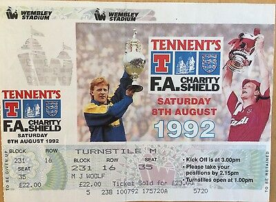 1992 FA Charity Shield 1992 Cup Final Ticket, Unused, Mint Condition!