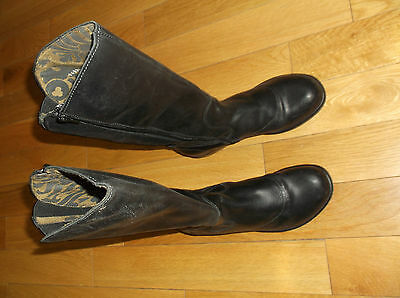 Fly London Women's Boots,color Black,size Eur 39,side Zip-Up,made In Portugal
