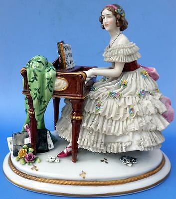 Antique Porcelain Figurine in Dresden Lace Dress Muller Volkstedt Playing Piano