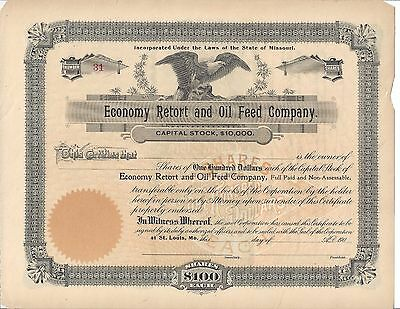 Economy Retort And Oil Feed Company (St. Louis,mo)...early 1900's Certificate