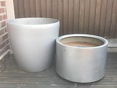 2 X Very Large Silver Garden Planters. Collection From Rotherham S62