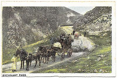 Sychnant Pass early colour - coach sheep cow - c1907 unused