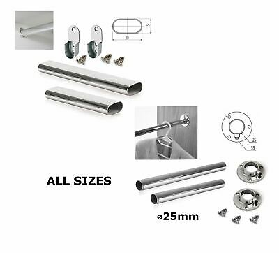 Wardrobe Oval Round Chrome Hanging Rail All Sizes Free End Supports & Screws