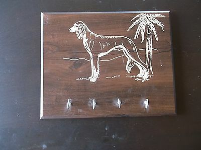 Saluki- Hand engraved, quality Wood Key Rack by Ingrid Jonsson