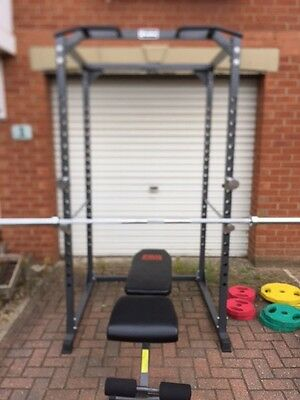 Body Max Power Rack with Olympic Bar, Weights, Fat Gripz and Bench