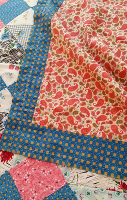 Vintage 1930's Quilt DIAMOND & SQUARES Antique 4 Patch Sweet Country PATCHWORK