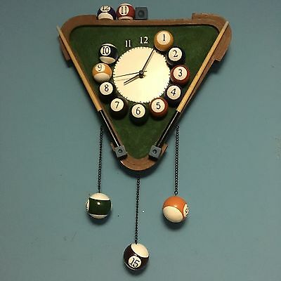 Collections Etc Billiard Pool Rack Quartz Wall Clock - Excellent
