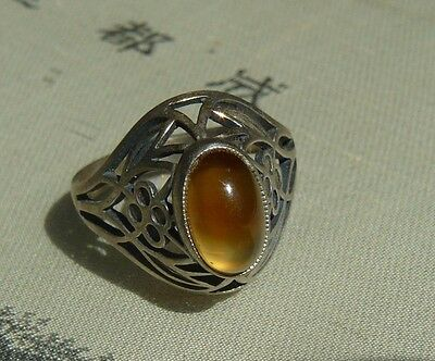 Amazing Vintage Openwork Ring  Agate Stone Russian USSR Silver 875 Soviet Star