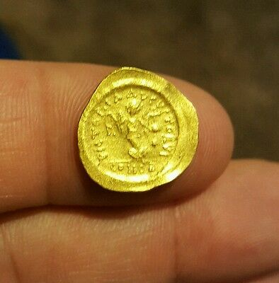 Ancient Byzantium Justinian I.  527-565 Ad.  Gold Tremissis.  Beautiful Coin!!!
