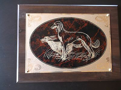 Saluki- Impressive Hand Engraved Wall Plaque by Ingrid Jonsson