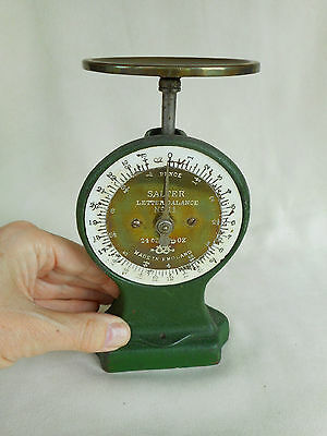 VINTAGE SALTER POSTAL SCALES ~  LETTER BALANCE No 11 ~ BRASS & IRON -