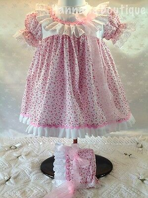 Hannahs Boutique 0-3 Mth Traditional Spanish Floral Dress & Bonnet Reborn 20-24""