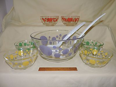 Rare Vintage Federal Glass Salad Set Polka Dot Bowls Scandia Coronation
