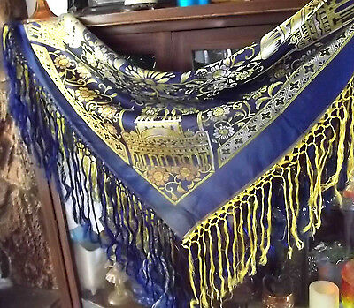 Vintage Taj Mahal Piano Scarf Shawl Table Cloth Fringe dark Blue Yellow Salmon