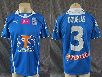 Match worn issue Lech Poznan 2013-14 home shirt trikot Douglas 3 squad signed