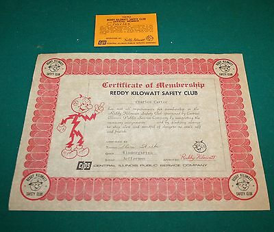 1970 Ready Kilowatt Safety Club Certification of Membersh Illinois Public Safety