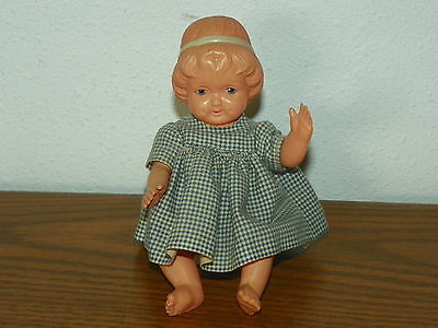 """Vintage JAPAN Jointed Hard Plastic 6"""" Doll with Dimples                       I8"""
