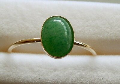 14K. GF Ring /Size 7/ Natural Oval Cab Green Jadeite   8x6 mm  /   1.22 cts.