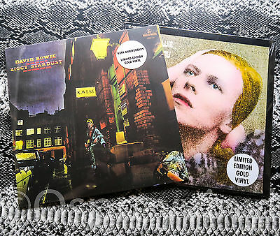David Bowie Gold Vinyl x 2 Hunky Dory & Ziggy Stardust Both Factory Sealed