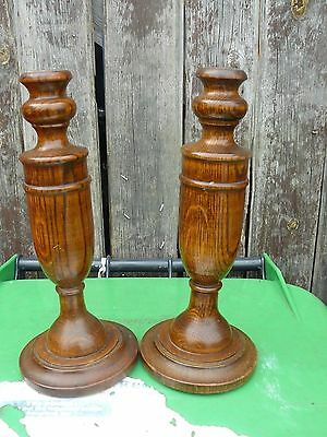 "Two Vintage Solid Oak Candlesticks c Late 19th - Early 20th Century.11"" TALL"