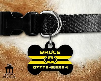Custom Personalised Pet Dog Name ID Tag For Collar Pet Tags - Batman Stripes