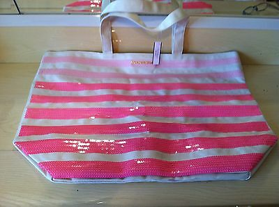 Victoria Secret New With Tags Pink Sequin 21 Inch Tote Bag Very Pretty Look!