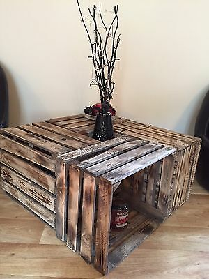 4 x BURNT TOURCHED WOOD VINTAGE WOODEN APPLE FRUIT CRATE RUSTIC.