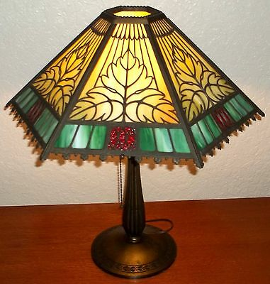 "Bradley & Hubbard 21"" Arts & Crafts Lamp - Vintage"