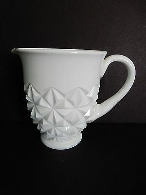 Vintage Milk Glass Diamond Point Milk Pitcher