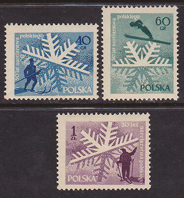 Poland #758 to 760 Mint (H) 1957 50 Years Of Skiing (Z_34a)