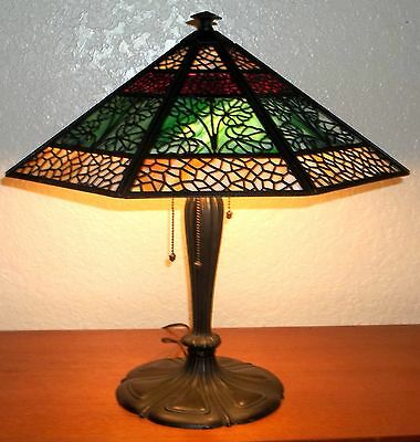 Bradley & Hubbard Slag Glass Arts & Crafts  Lamp - Vintage
