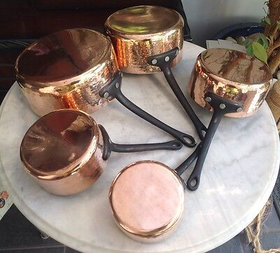5 Graduating Antique Hammered Copper And Iron Saute Pans Saucepans Tin Lined